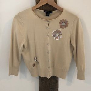 August Silk Cream/Tan Cardigan with Flower Detail